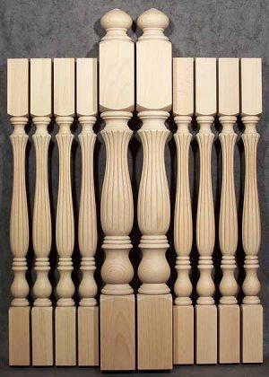 Colonna caposcala e colonnine per scale tornite ad arco in faggio trattato al vapore SI107X