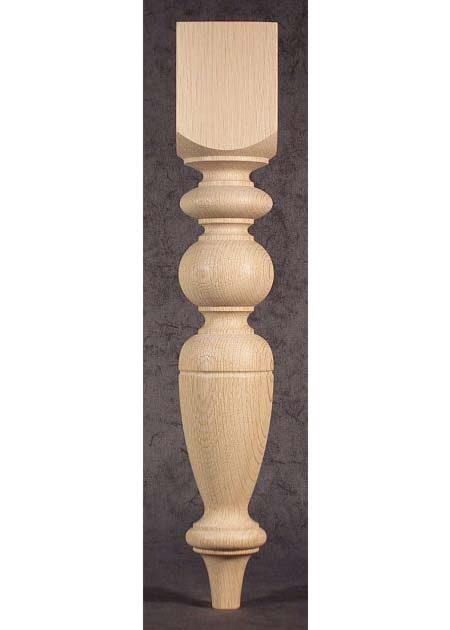 Gamba in legno per tavoli con motivo a sfere e ad anelli TL40
