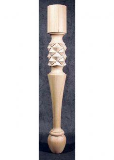 Gamba in legno per tavoli decorata con piramidi TL50