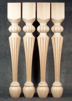 Gamba per tavoli legno con speciale disegno fresato TL51