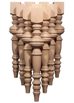 Gambe per tavoli in legno con caratteristici motivi torniti TLW102