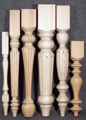 Gambe per tavolo legno di dimensioni miste con varie decorazioni fresate TL032