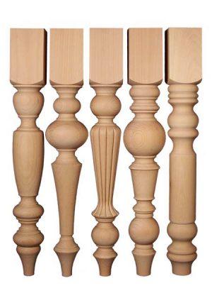 Gambe tavolo in legno, con lunghezze identiche nella parte alta rettangolare TLW107