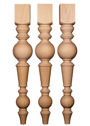 Gambe tornite in legno per tavoli con pomoli caratteristici TLW110